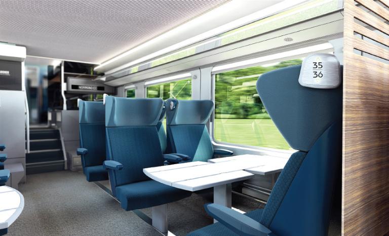 Présentation des sièges des futurs trains Intercités normands