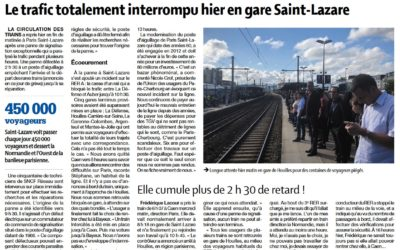 Trafic totalement interrompu à Paris Saint-Lazare