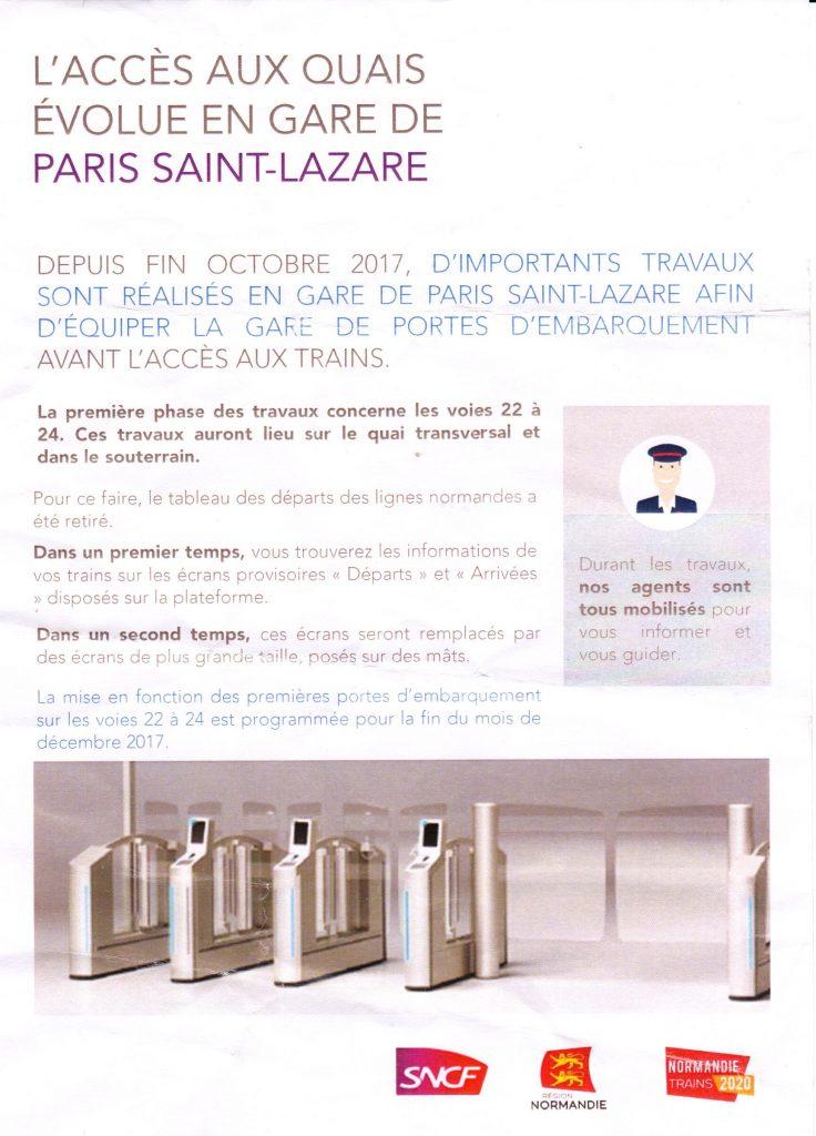Accès aux quais de Paris Saint-Lazare